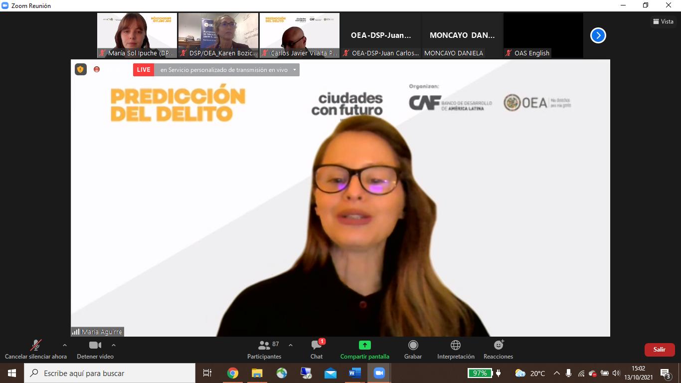 Apertura a cargo de María Guadalupe Aguirre, CAF-Banco de Desarrollo de América Latina